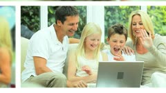 Montage Images of Young Caucasian Family Lifestyle - stock footage
