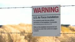 sign, warning US Air Force, very ominous - stock footage