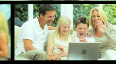 Montage Images of Modern Caucasian Family Lifestyle Stock Footage