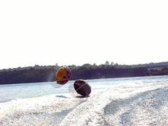 Stock Video Footage of Pond tubing wake wipeout
