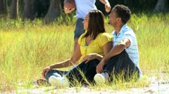 African American Family Enjoying Time Outdoors Stock Footage