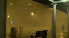 Hurricane Raging Eyewall Lashes City - stock footage