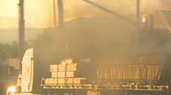 Transport truck with very heavy smoke, pollution Stock Footage