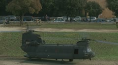 Army helicopter (2 clips) just after landing Stock Footage