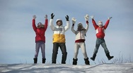 Cheerful family jump Stock Footage