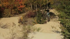 Bike Rider Jumping Dirt Trails Stock Footage