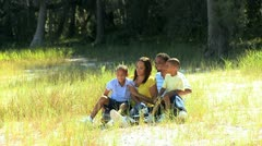 African American Family Enjoying Time Outdoors - stock footage