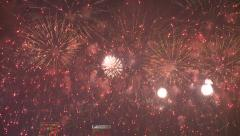 Amazing Fireworks Over Hong Kong Skyline Stock Footage