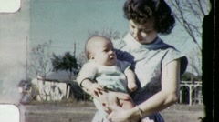Young Mother Holds Baby American Dream USA 1950s Vintage Film Home Movie 1299 Stock Footage