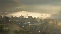 Autumn mist, Uley, Gloucestershire, UK - stock footage