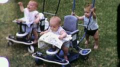 Cute Happy Little  Babies in Strollers 1950s Vintage Film Home Movie 1306 Stock Footage