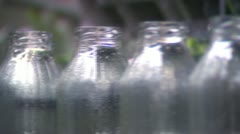 Empty bottles on a production line Stock Footage
