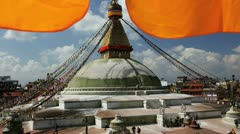 Boudhanath Stupa, Kathmandu, Nepal, Asia Stock Footage