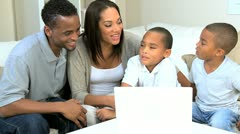 Young Family Talking Via Online Web Chat Stock Footage