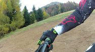 Downhill Mountain Bike Side View Stock Footage