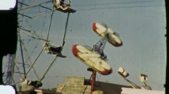 People Ride Ferris Wheel Rocket Amusement Park 1940 Vintage Film Home Movie 1324 - stock footage