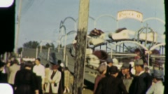 Crowd People Amusement Park County Fair Ride 1940s Vintage Film Home Movie 1325 Stock Footage