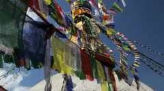 Prayer flags, Bodnath Stupa Kathmandu, Nepal Stock Footage