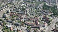 Aerial view of the city in northern Poland Stock Footage