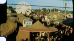 Crowd Fair CARNIVAL Tents Fairground Midway 1940s (Vintage Film Home Movie) 1326 Stock Footage