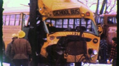 KIDS School Bus Crash ACCIDENT Winter Road 1960s Vintage Film Home Movie 1330 Stock Footage