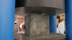 Concrete brick test at laboratory Stock Footage