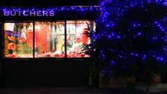 Butchers Christmas Window 02 - stock footage