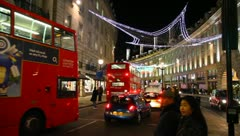 London Christmas Lights Regent Street UK Stock Footage