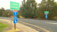 Freeway entrance Intersate 5 in northern California Stock Footage