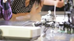 Students look at robot at science class. Stock Footage