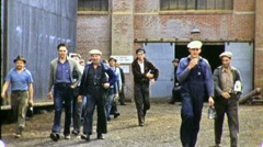 Workers QUITTING TIME Leave Factory Job Industrial 1940s Vintage Movie Film 1343 - stock footage