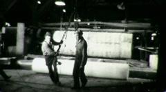 Men in Factory Workers Heavy Industry 1940s Vintage Film Industrial Movie 1350 Stock Footage
