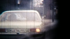 Bumpy Road Trip City Street Car Window View - Vintage Super8 Film Stock Footage