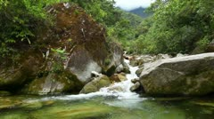 River flowing thru the Ecuadorian rainforest, Ruta de las cascadas, Banos Stock Footage
