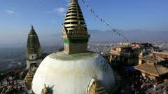 Swayambhunath Stupa,  Kathmandu, Nepal Stock Footage