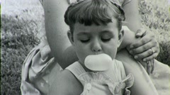 Cute Little Girl Chewing Blows Giant Bubble Gum 40s Vintage Film Home Movie 1354 Stock Footage