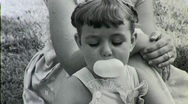 Stock Video Footage of Cute Girl Chewing Bubble Gum 1940s Vintage Film Home Movie 1354