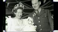 Bride Solider Groom Cut Wedding Cake WW2 1940s Vintage Film Home Movie 1357 Stock Footage