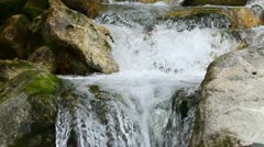 Small mountain river close up in Ecuadorian rainforest Stock Footage