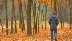 Stock Video Footage of The lonely man walks in the picturesque autumn forest