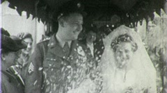 Jewish Wedding Bride Groom Rice Shower WW2 1940s Vintage Film Home Movie 1358 Stock Footage