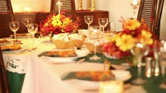 Thanksgiving table - stock footage