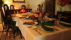 Thanksgiving table decoration - stock footage