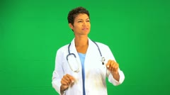 African American female doctor green screen touchscreen Stock Footage