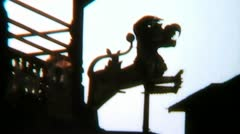 Nepal Temple Rooftop Dragon Sculpture - Vintage Super8 Film Stock Footage