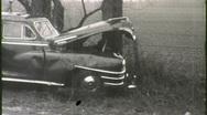 Car Wreck Crash Collision on Rural Road (Vintage 16mm Film Footage) 1374 Stock Footage