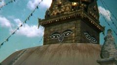 Nepal Kathmandu Swayambhunath Stupa Temple - Vintage Super8 Film - stock footage