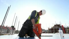 Construction. Carpenter working on construction site. Stock Footage