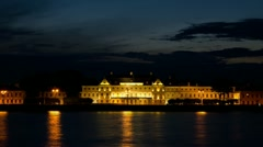 The Menshikov Palace at night, St. Petersburg, Russia (timelapse) Stock Footage