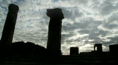 Pompeii columns silhouette, with cloudy sky Stock Footage